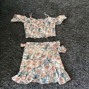 2 piece skirt and top set by JOA NWOT FLORAL